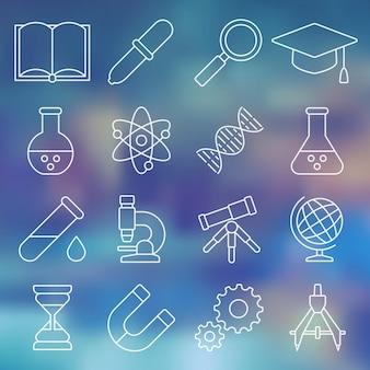 Lijn icon set wetenschappelijke hulpmiddelen apparatuur in eenvoudig ontwerp vectorillustratie