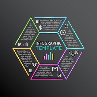 Lijn infographic sjabloon pictogrammen met opties delen, stappen, processen