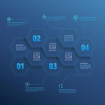 Lijn infographic zeshoeken met nummeropties