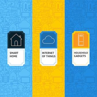 Lijn internet van dingen patronen set. vectorillustratie van logo-ontwerp. sjabloon voor verpakking met etiketten.