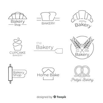 Lijn kunst bakkerij logo sjabloon