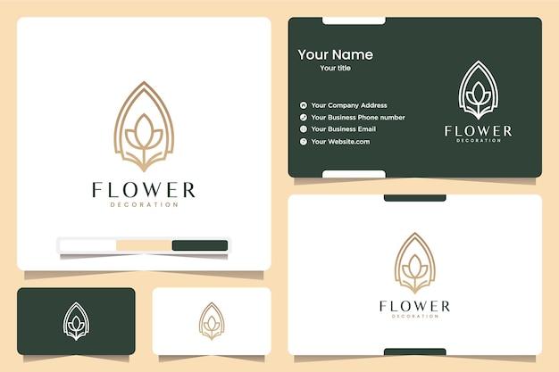 Lijn kunst bloem, logo ontwerp inspiratie