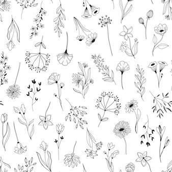 Lijn kunst bloemen elementen naadloze patroon. achtergrond met getrokken schets gebladerte natuurlijke bladeren kruiden. hand getekende bloem botanische vectorillustratie.