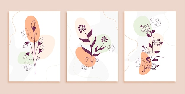Lijn kunst bloemen en bladeren abstracte achtergrond instellen