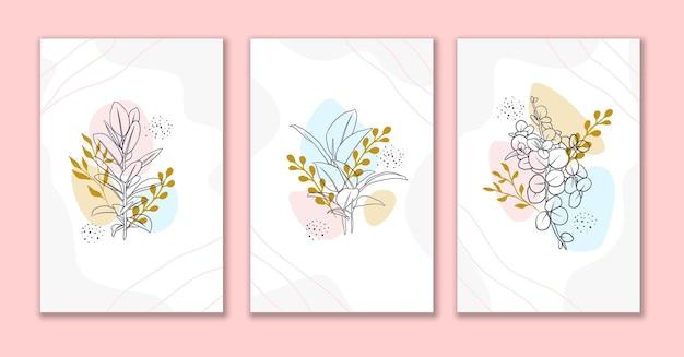 Lijn kunst bloemen en bladeren abstracte achtergrond set a