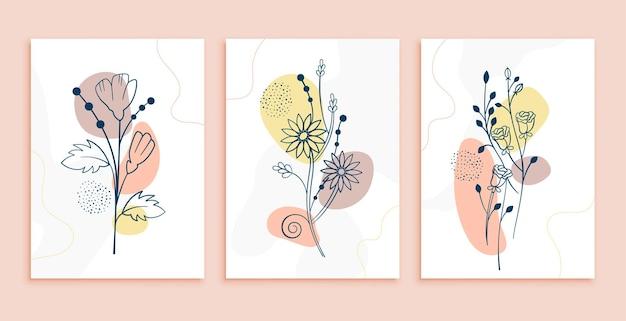 Lijn kunst bloemen poster lay-outontwerp