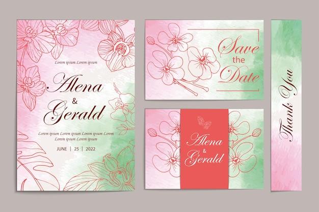 Lijn kunst bloemen set bruiloft uitnodigingskaart