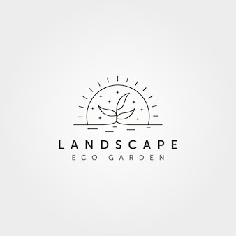 Lijn kunst boom landschap logo vector met zonsondergang creatieve illustratie ontwerp, lijn kunststijl