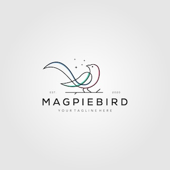 Lijn kunst ekster vogel logo