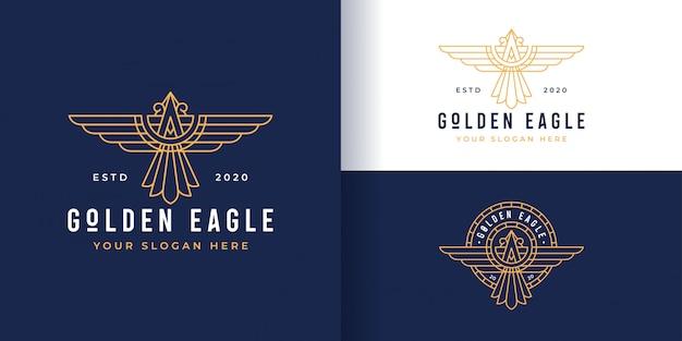 Lijn kunst gouden adelaar logo en badge sjabloon