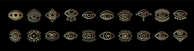 Lijn kunst icon set van boze wakend oog gold mystic esoterische tekenen lineaire stijl