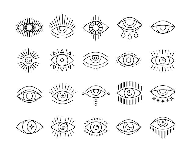 Lijn kunst icon set van boze wakend oog mystic esoterische tekens Premium Vector