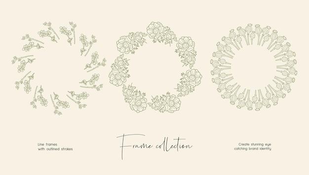 Lijn kunst illustratie collectie van decoratieve vector frames voor branding of logo