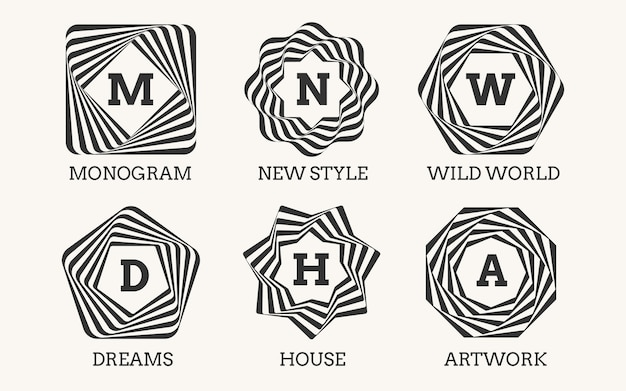 Lijn kunst logo ontwerp of monogram. teken ornament, frame en kunstdecoratie, elegant symbool klassiek sierlijk