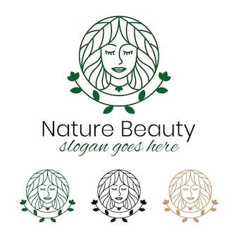 Lijn kunst natuur schoonheid vrouw logo sjabloon
