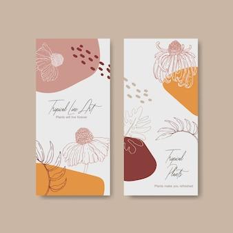 Lijn kunst tropische flyer ontwerpen