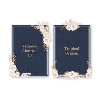 Lijn kunst tropische frame ontwerp met bloemen en bladeren hand getekende illustratie.
