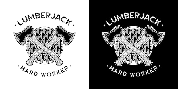 Lijn kunst vectorillustratie van bijl snijden hout houthakker geschikt voor tshirt