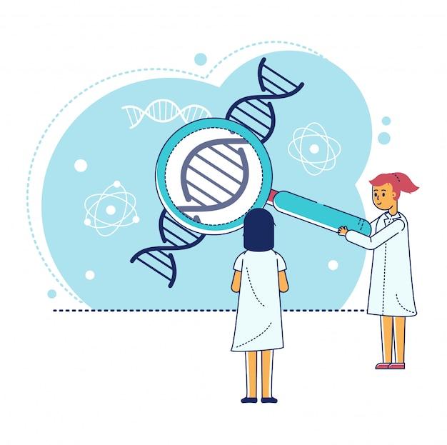 Lijn laboratoriumonderzoek illustratie, cartoon kleine wetenschapper karakter maken experimenttest in reageerbuis op wit