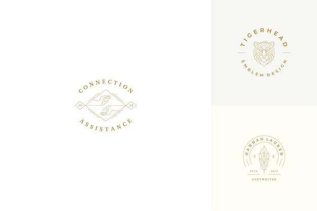 Lijn logo's emblemen ontwerpset sjablonen - vrouwelijke gebaar handen illustraties eenvoudige minimale lineaire stijl. overzichtsafbeeldingen voor cosmetologie-branding en copywriter.