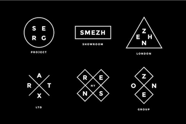 Lijn logo set. set simle line logo in moderne minimalistische stijl