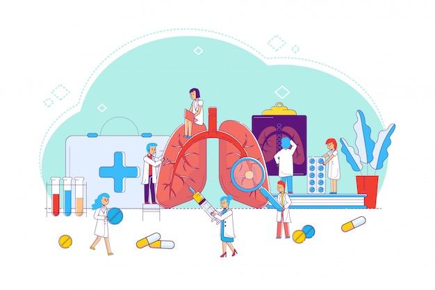 Lijn longziekte studie en behandeling, concept illustratie. artsen en verpleegkundigen rond vergrote longen, kijk naar de toestand van de organen