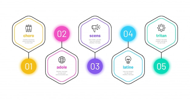 Lijn optie infographic. 5 nummer infograph, bedrijfsproces stappen grafiek met overzicht pictogrammen. project financiën diagram template