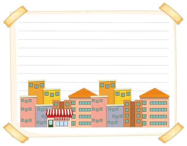Lijn papieren sjabloon met gebouwen