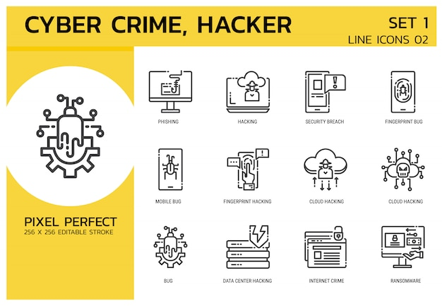 Lijn pictogrammen stijl. hacker cyber misdaadaanval