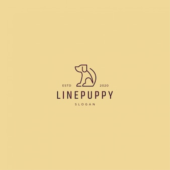 Lijn puppy logo retro vintage