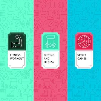 Lijn sportpatronen set. vectorillustratie van logo-ontwerp. sjabloon voor verpakking met etiketten.
