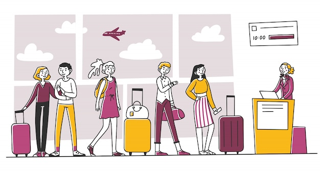 Lijn van toeristen op de luchthaven inchecken balie