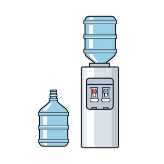Lijn vector kunststof waterkoeler met blauwe volle fles