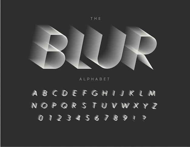 Lijn vervagende letters, cijfers en tekens instellen. typografie ontwerp.