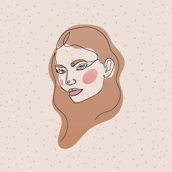 Lijn vrouw gezicht met haar op roze