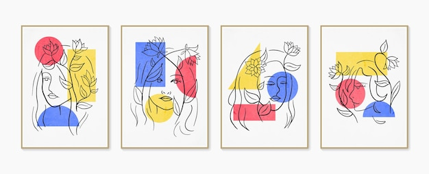 Lijn vrouw portret set van abstracte esthetische minimalistische hand getrokken hedendaagse posters