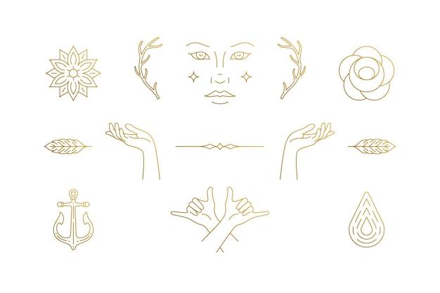 Lijn vrouwelijke decoratie ontwerpelementen set - vrouwelijk gezicht en gebaar handen illustraties