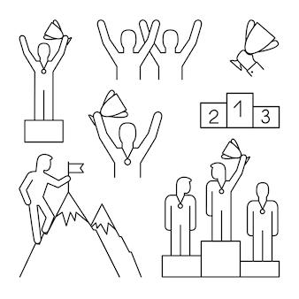 Lijn winnaar pictogrammen. winnende podium en gelukkige baan teambeloning, zakelijke leidt mensen toekennen en prestatiemarkering omtrektekens, vectorillustratie