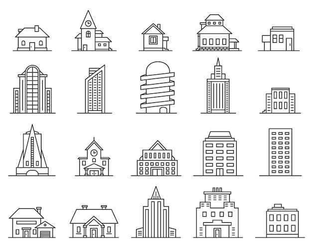 Lijn wolkenkrabbers en huizen. overzicht stad en gemeente gebouw. vastgoed icoon. moderne architectuur en cottage, dunne lineaire stedelijke vectorset. illustratie gebouw appartement, kantoor en wolkenkrabber