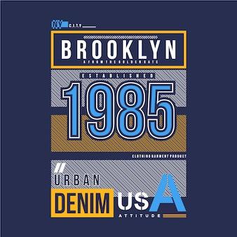 Lijnen frame brooklyn stad ontwerp t-shirt