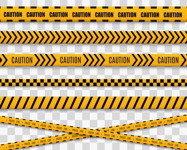 Lijnen geïsoleerd. waarschuwingstapes. voorzichtigheid. gevaar tekenen. geel met zwarte politielijn en gevaarstapes.