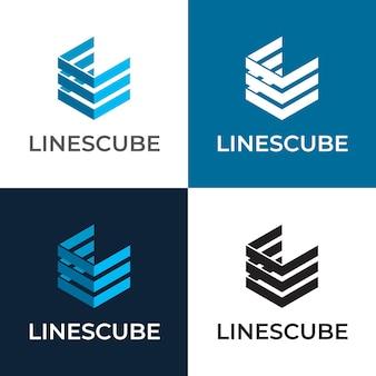 Lijnen kubus zeshoek vector logo sjabloon
