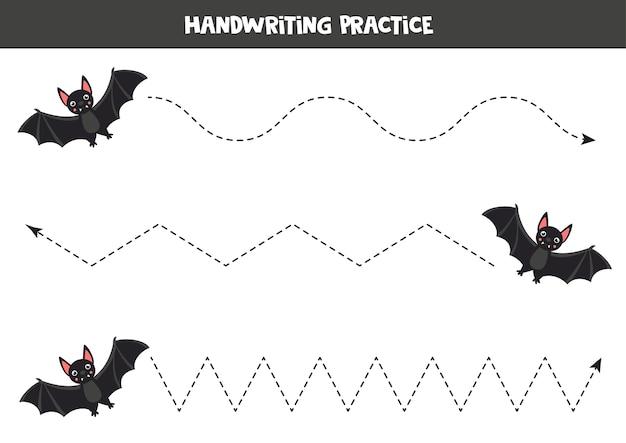 Lijnen overtrekken met cartoon zwarte vampier. handschriftoefening voor kinderen.