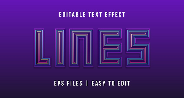 Lijnen teksteffect, bewerkbare tekst