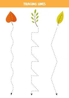 Lijnen traceren met cartoon herfstbladeren. oefen voor kinderen.