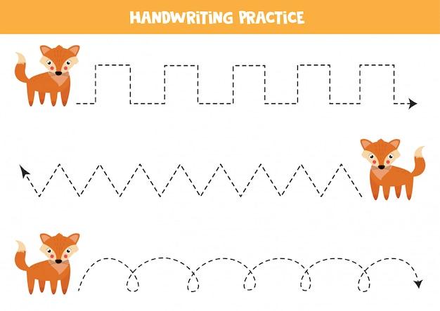 Lijnen traceren met schattige cartoon vos. handschrift praktijk.