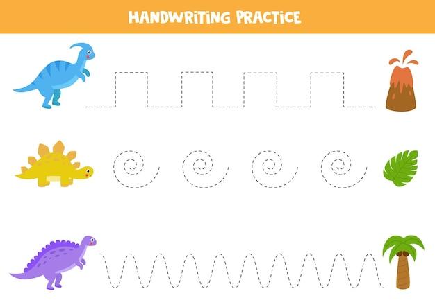 Lijnen traceren met schattige dinosaurussen. handschriftoefening voor kinderen.