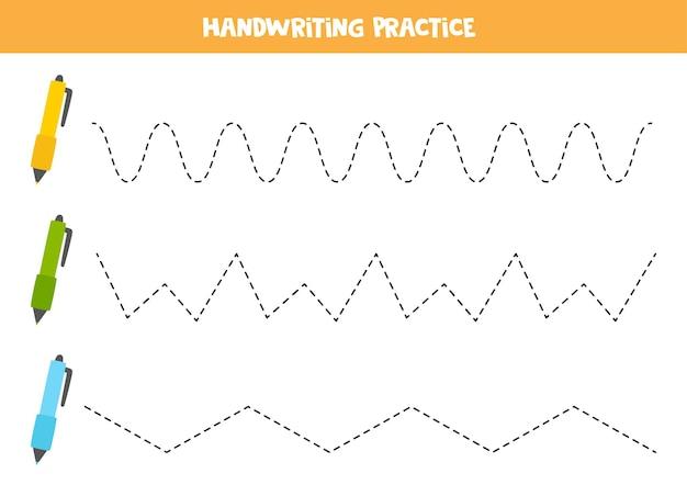 Lijnen traceren met tekenfilmpennen. schrijf oefening.
