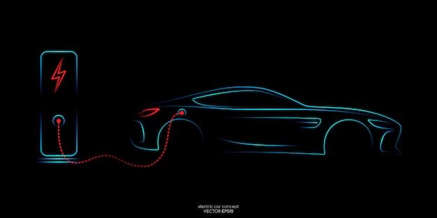 Lijnen van elektrische auto met laadpalen op zwart