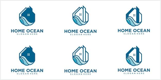 Lijnhuislogo met rond huis met oceaangolven creatief strandhuislogo